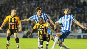 SPORT with Phil story 15-10-11 Hull City's Aaron Mclean watches the ball hit the crossbar during their match against Brighton at the Amex Stadium, Brighton. City drew the match nil-all. Picture: Simon Renilson